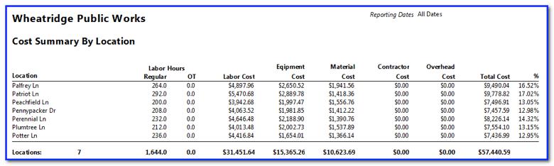 cost summary report