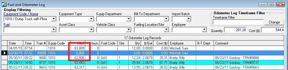 examine fuel and odometer log for errors