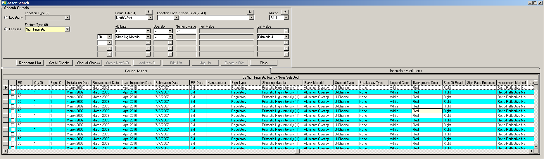 asset search screen