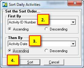 daily activity sort screen