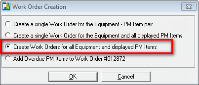 create work orders for all equipment