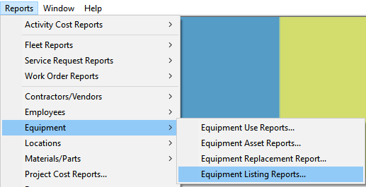 equipment listing