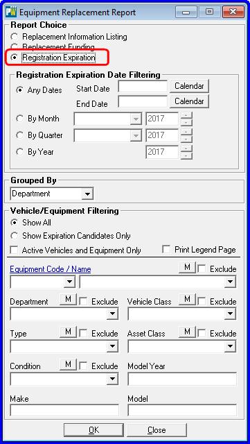 Equipment Replacement Report
