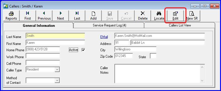 Service Request Caller Edit Button