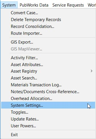 Select System Setting