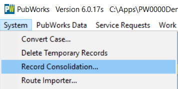 Click on System select Record Consolidation