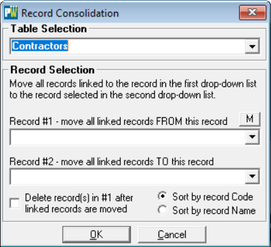 Use the first drop list to select the Table that contains the records that you'd like to consolidate.