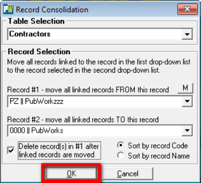 Records consolidation click okay